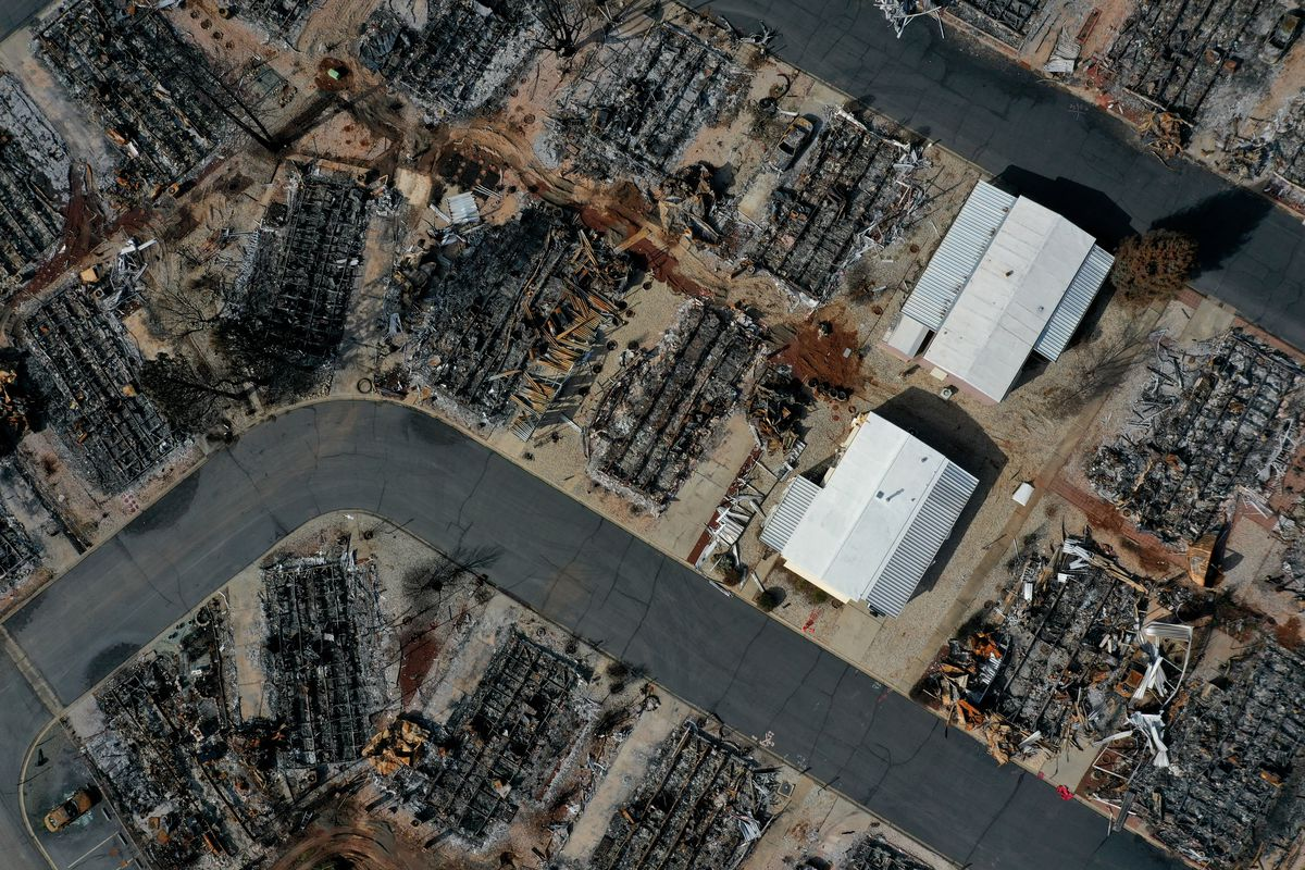 An aerial survey of a Paradise neighborhood, showing destroyed, vacant lots.