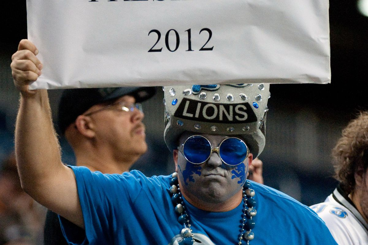 Aug 10, 2012; Detroit, MI, USA; Detroit Lions fan before the preseason game against the Cleveland Browns at Ford Field. Mandatory Credit: Tim Fuller-US PRESSWIRE