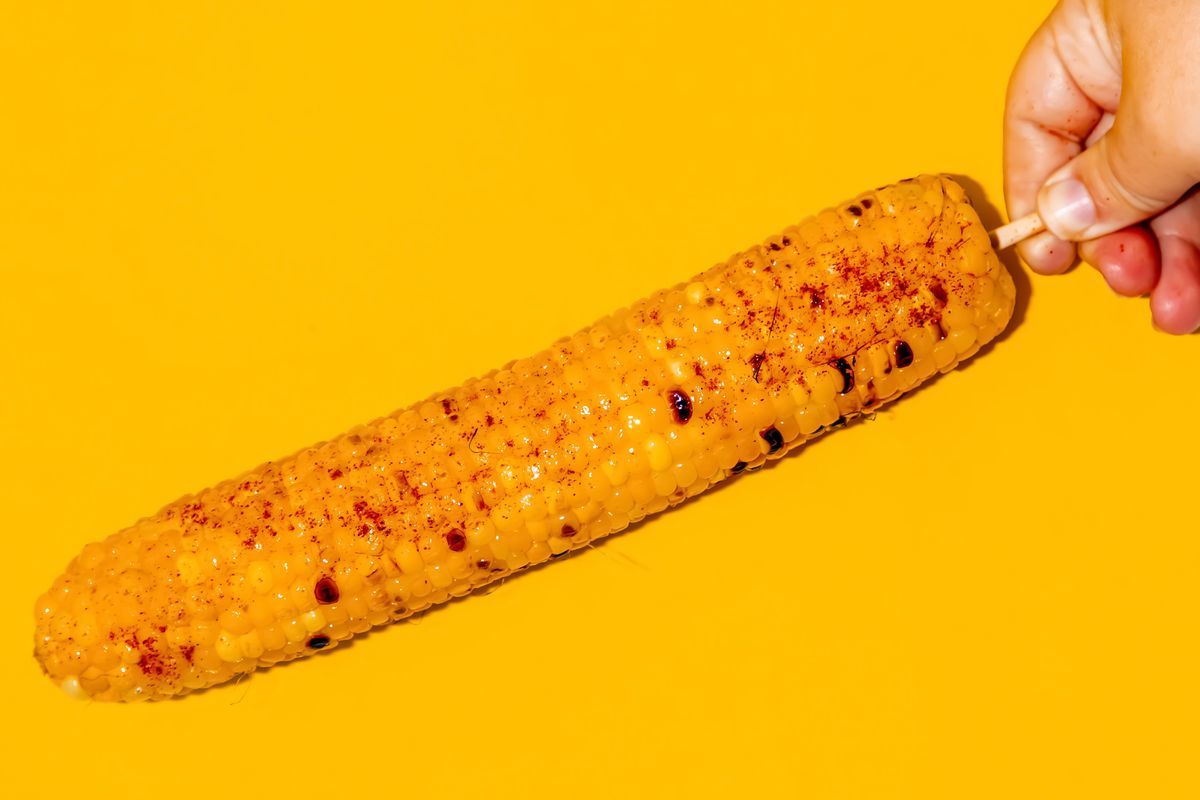 A hand holding corn on a cob on a stick against a yellow background