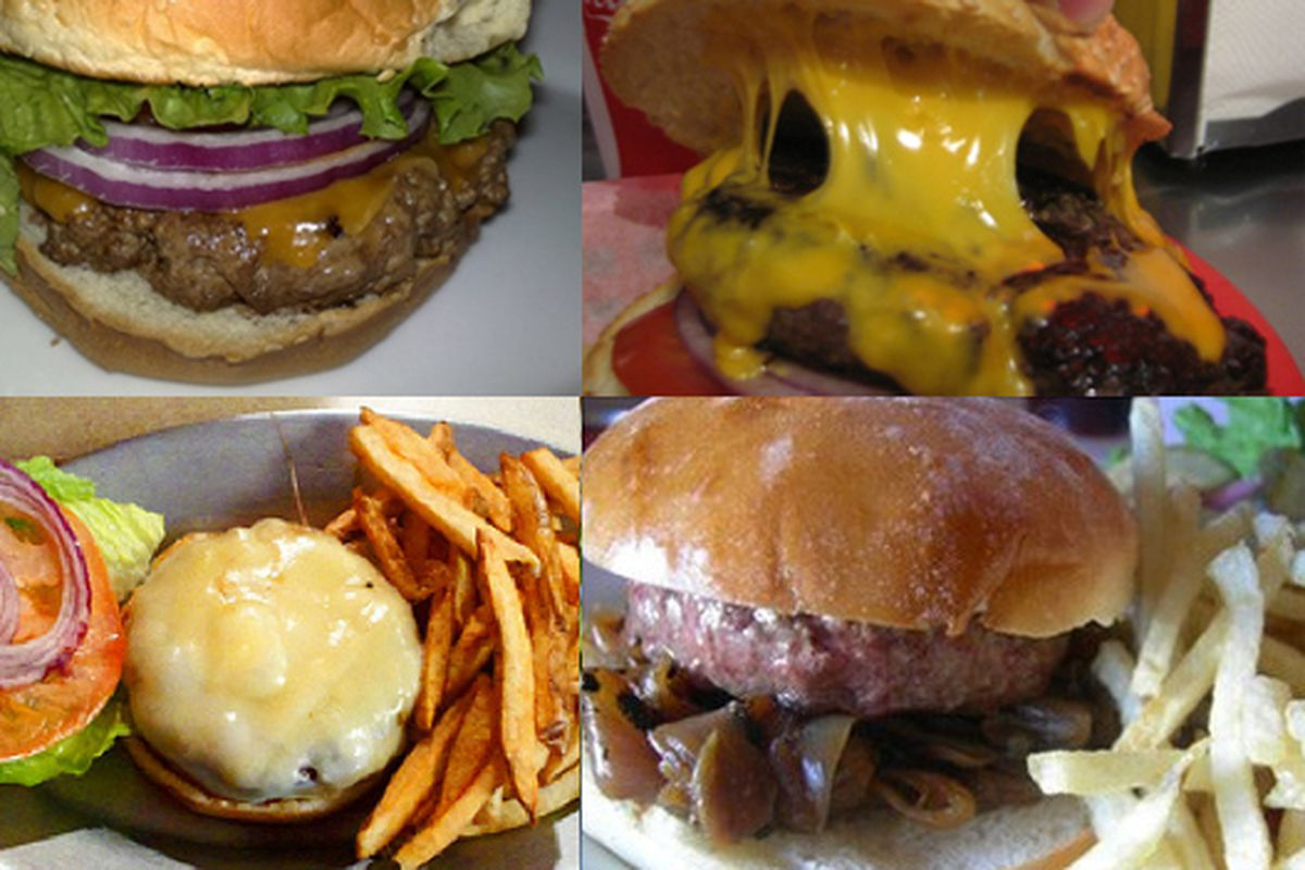 """Clockwise from top left: Burgers from Joe's Cable Car (<a href=""""http://www.dishola.com/dishes/index/Mountain%20View,%20CA%2094043/tag:burger"""">photo credit</a>), Pearl's Deluxe Burger (<a href=""""http://www.burgertyme.com/pearls-deluxe-burger"""">photo cr"""