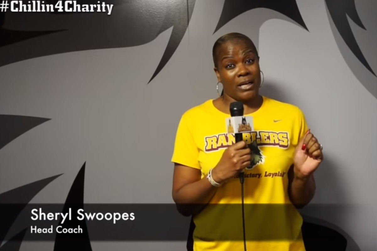 Former WNBA star and now Loyola University Chicago Head Coach Sheryl Swoopes is among the many who took part in the #Chillin4Charity challenge.