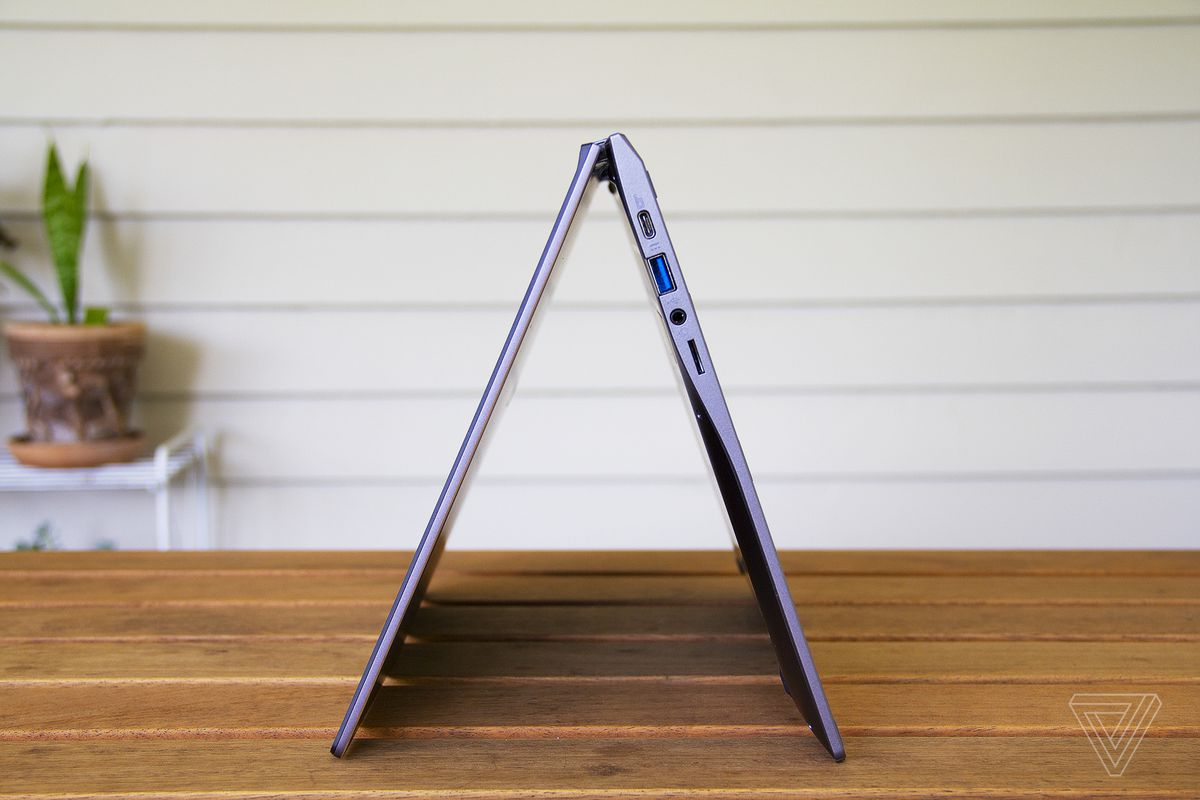 The Acer Chromebook Spin 713 in tent mode, from the side.