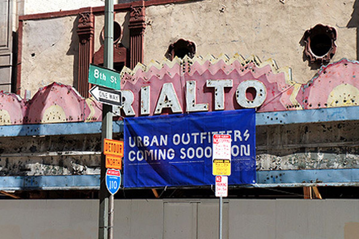 """Image via <a href=""""http://brighamyen.com/2013/09/03/urban-outfitters-coming-soon-sign-posted-rialto-theatre-downtown-la/"""">Brigham Yen</a>"""