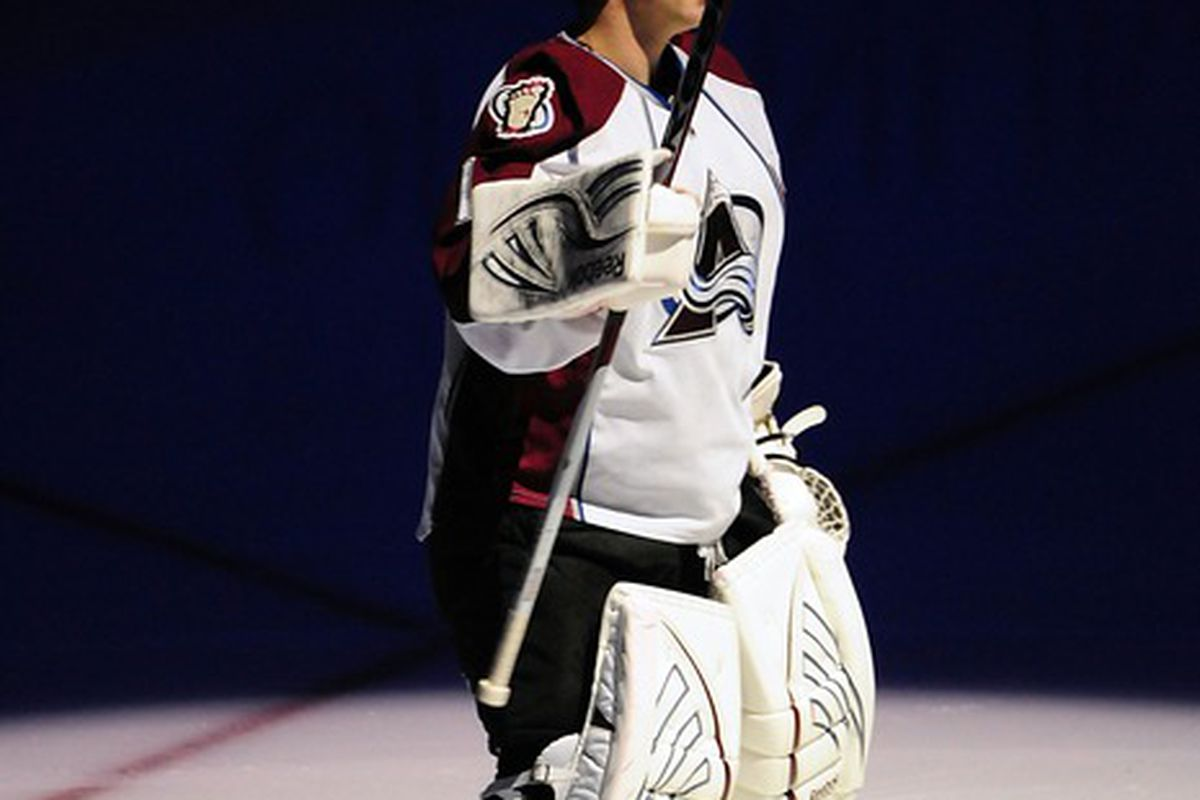 Mar 28, 2012; Vancouver, British Columbia, CANADA; Colorado Avalanche goaltender Semyon Varlamov (1) during the first period against the Vancouver Canucks at Rogers Arena. Mandatory Credit: Anne-Marie Sorvin-US PRESSWIRE