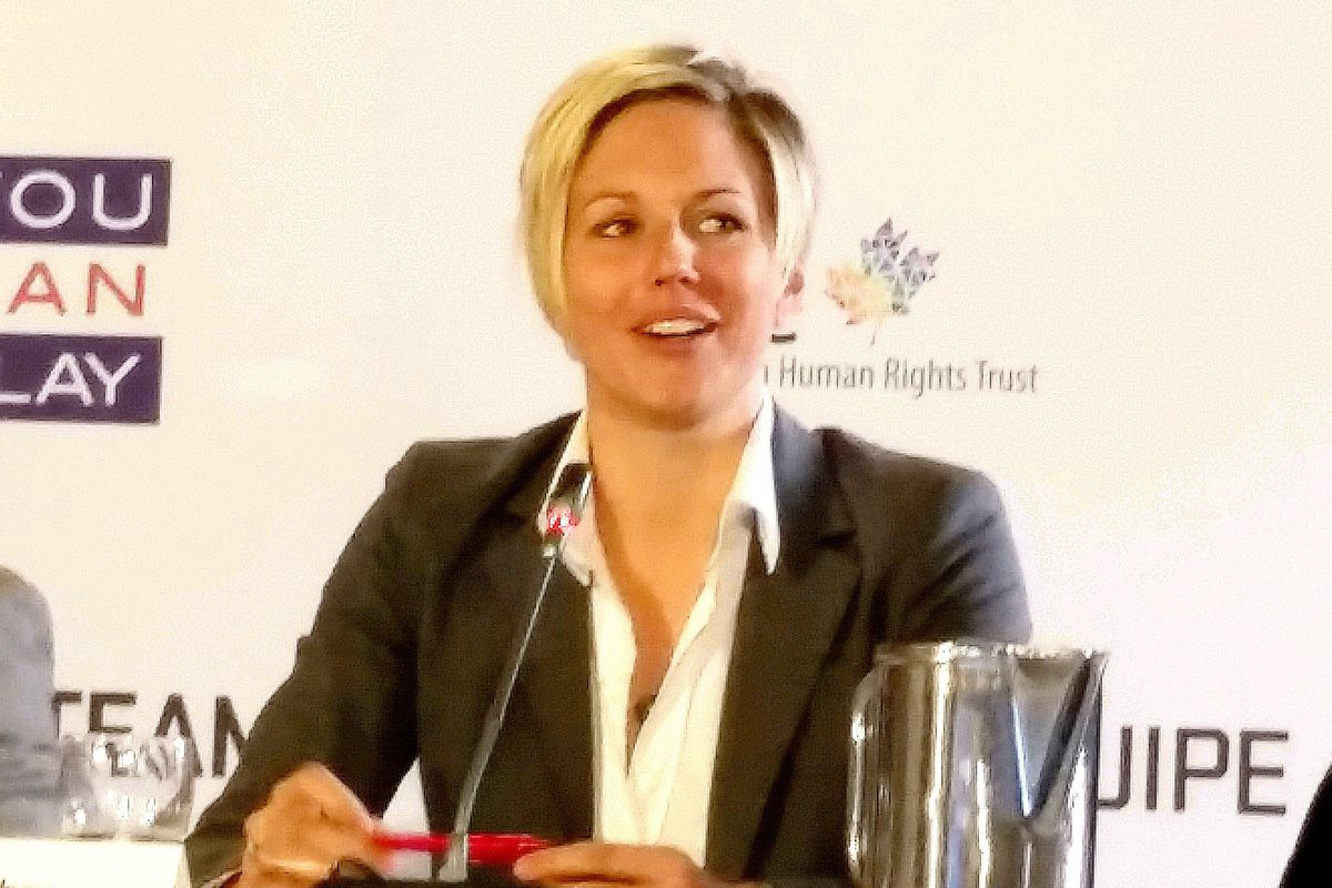 Kendra Fisher talked openly on a panel of LGBT athletes at the #OneTeam round table.
