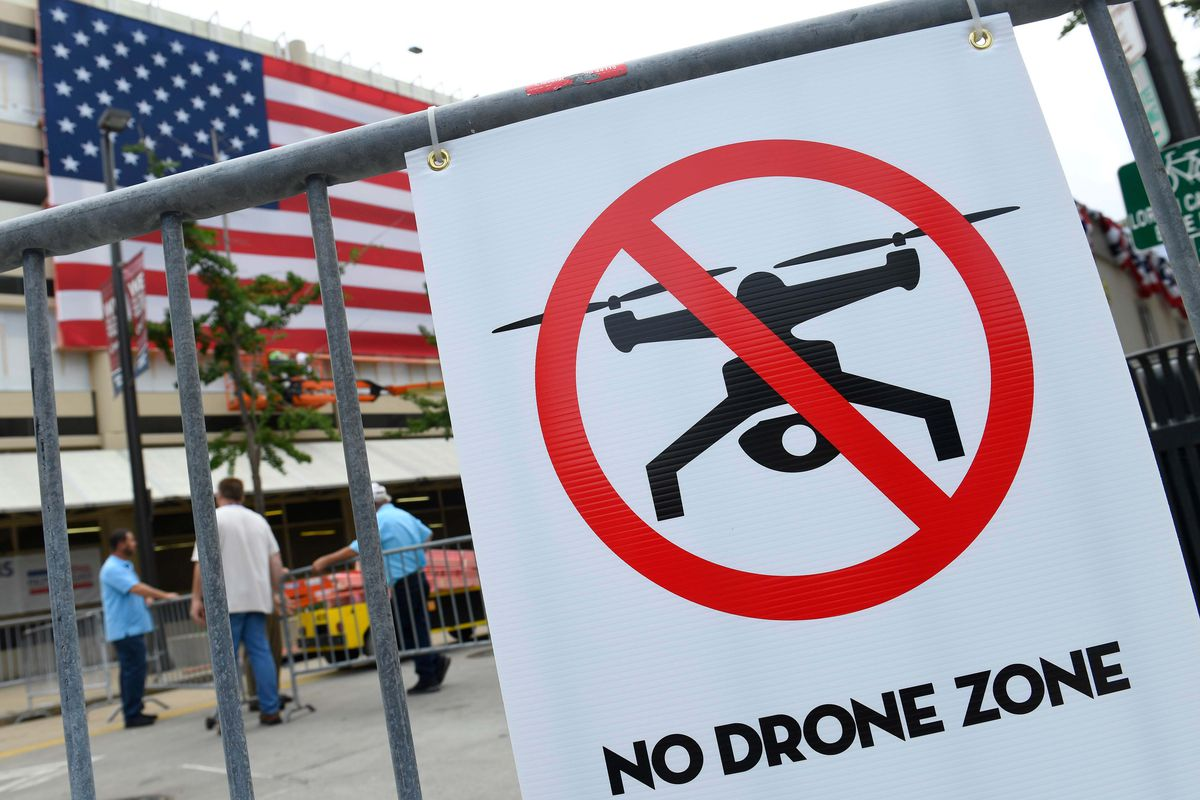 No drone sign at arena