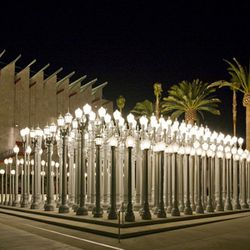 """<a href=""""http://collections.lacma.org/node/214966""""><b>Urban Light at LACMA</b></a> (5905 Wilshire Blvd): What's good for <a href=""""http://la.racked.com/archives/2013/02/25/supermodel_karlie_kloss_poses_at_lacma_for_vogue_spain.php""""><i>Vogue</i></a> is good"""