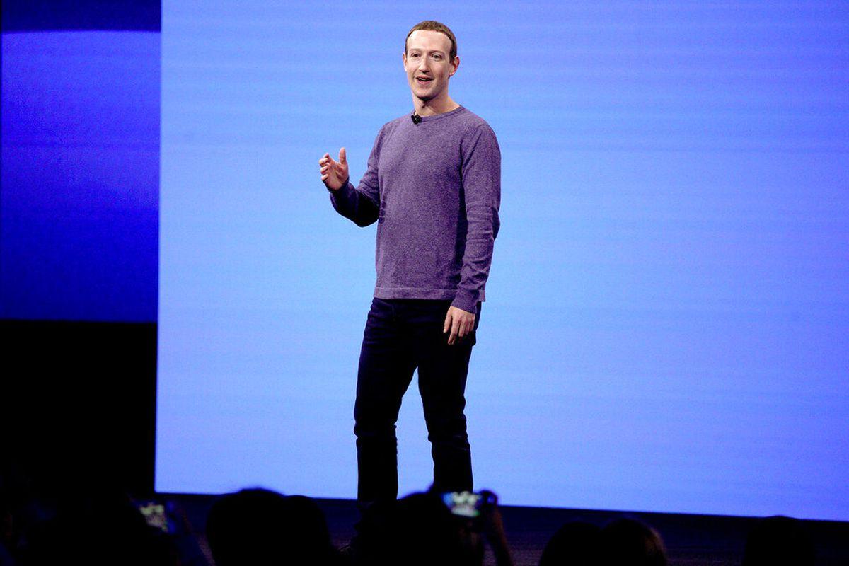 Facebook CEO Mark Zuckerberg delivering a keynote speech as a conference in San Jose, California