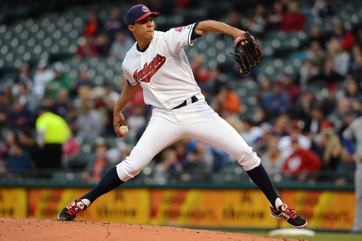 CLEVELAND, OH - APRIL 25: Starting pitcher Ubaldo Jimenez #30 of the Cleveland Indians pitches during the second inning against the Kansas City Royals at Progressive Field on April 25, 2012 in Cleveland, Ohio. (Photo by Jason Miller/Getty Images)