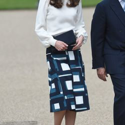 """Wearing Goat's """"Binky"""" top and Banana Republic """"Geo"""" skirt the launch of Heads Together Campaign at Olympic Park on May 16, 2016, in London, England"""