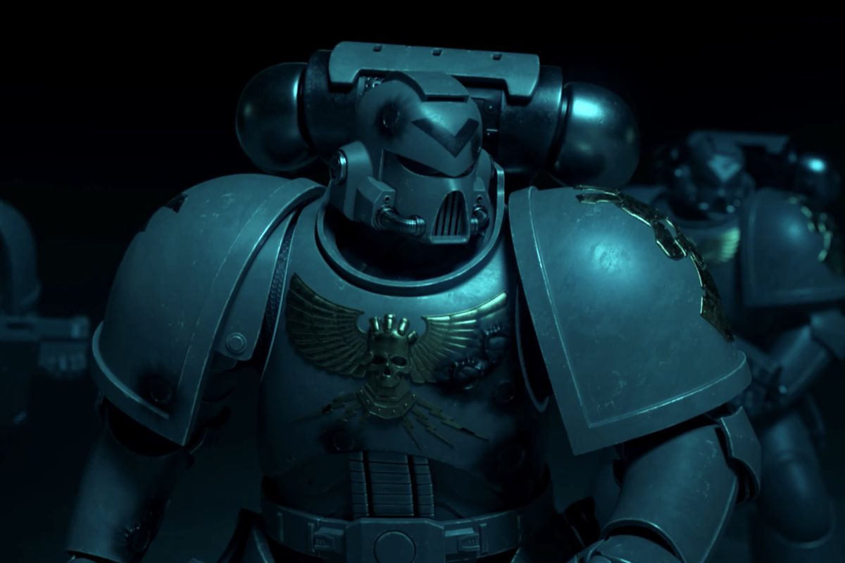 A trio of Space Marines from the Astartes animated short