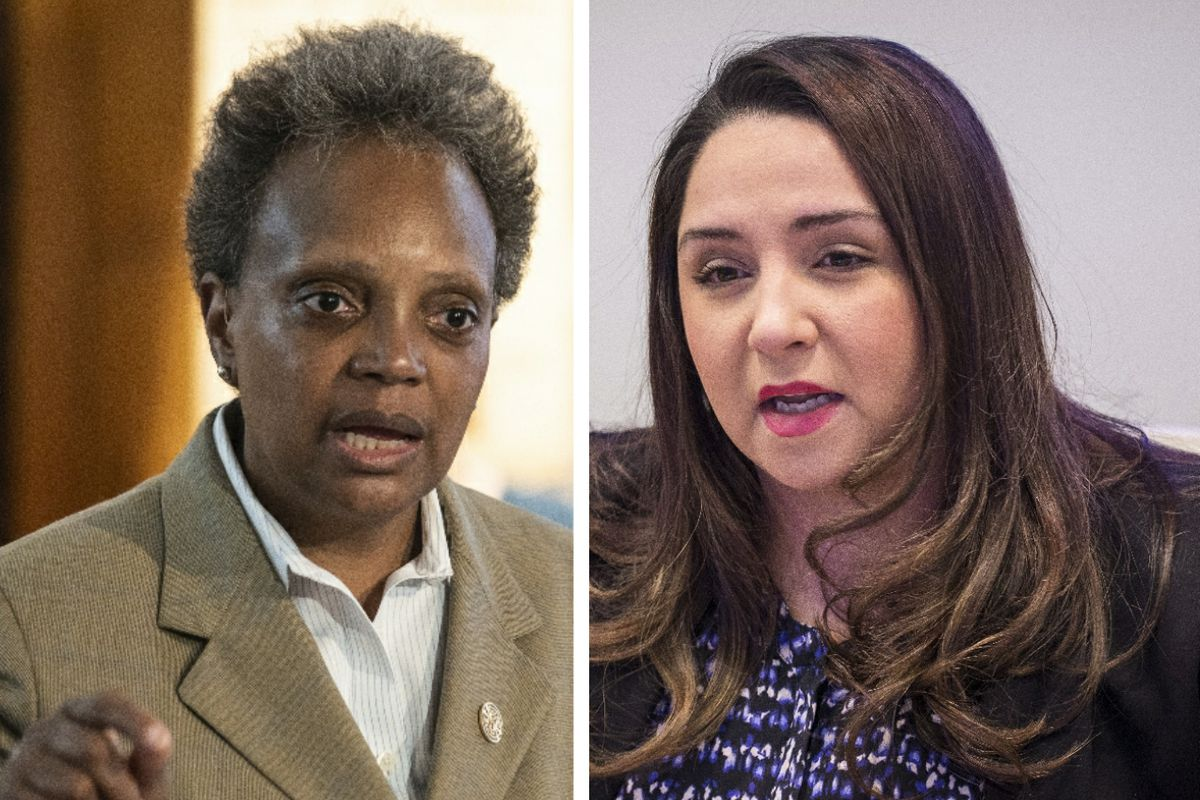 Mayor Lori Lightfoot, left, at a news conference last week; State Rep. Delia Ramirez, right, meeting with the Sun-Times Editorial Board in 2018.