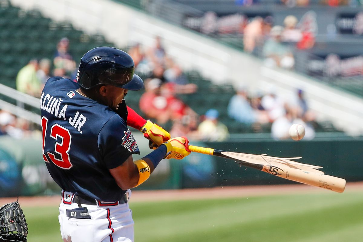 Atlanta Braves right fielder Ronald Acuna Jr. breaks his bat in the bottom of the second inning during spring training at CoolToday Park.