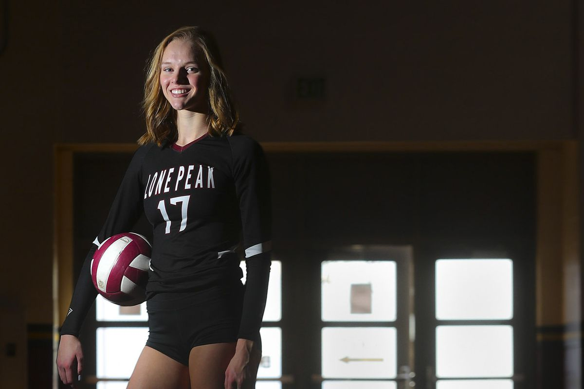 Lone Peak volleyball player Lauren Jardine poses for a photograph at Lone Peak High School in Highland on Thursday, Nov. 19, 2020.