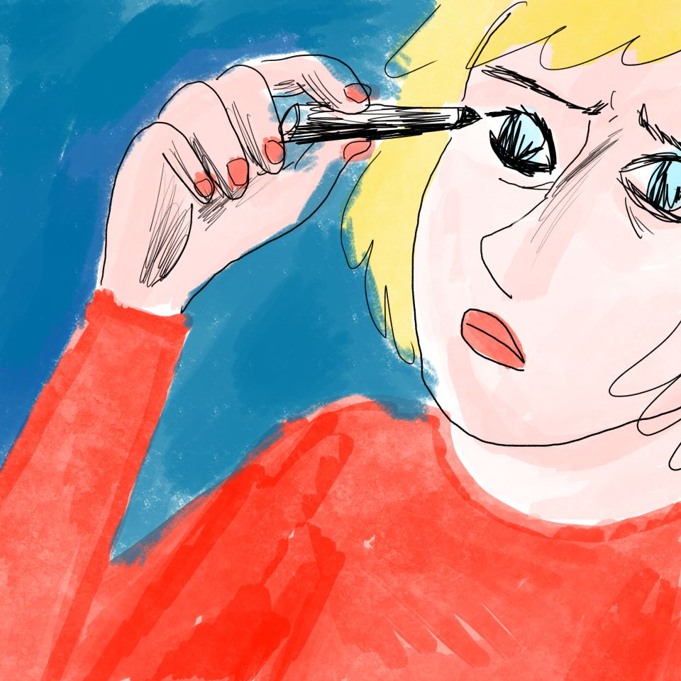 Illustration of a person applying eye makeup.