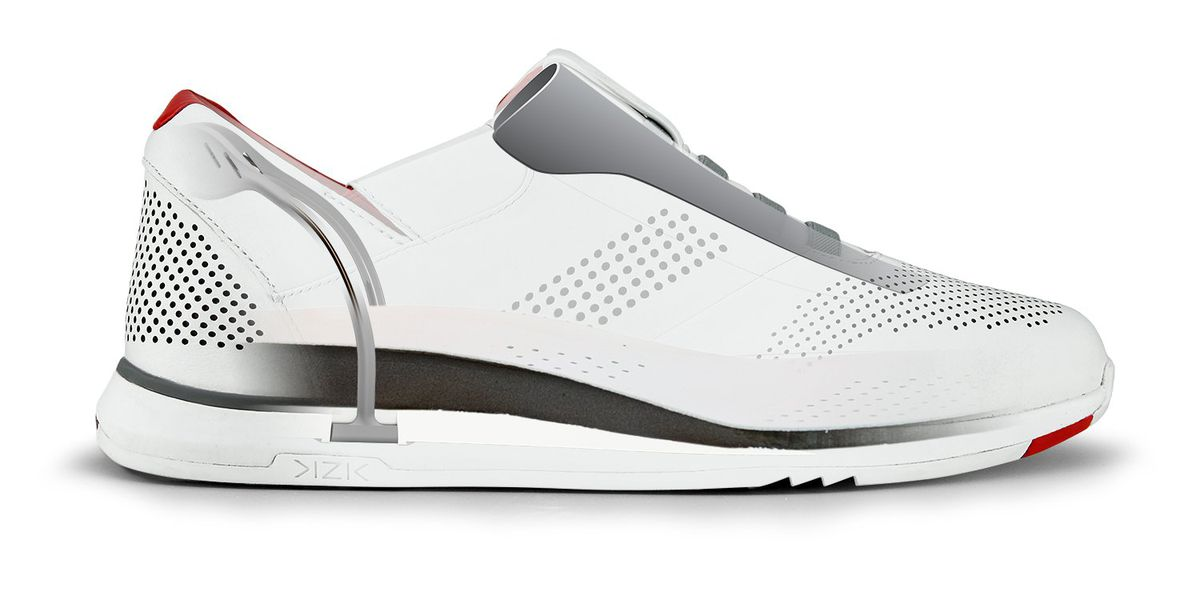 The titanium wire inside the Kizik shoe provides heel support and also springs the back of the shoe up after you've stepped into it.