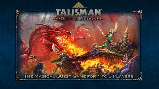A fire-breathing dragon protects a horde of treasure from some pesky adventurers in the cover art for the modern version of Talisman.