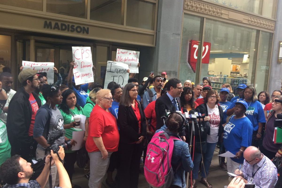 Chicago Teachers Union Vice President Jesse Sharkey outside of Chicago Public Schools headquarters