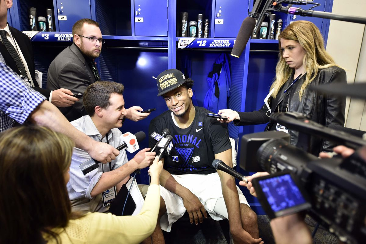 Apr 6, 2015; Indianapolis, IN, USA; Duke Blue Devils forward Justise Winslow is interviewed in the locker room after defeating the Wisconsin Badgers in the 2015 NCAA Men's Division I Championship game at Lucas Oil Stadium.