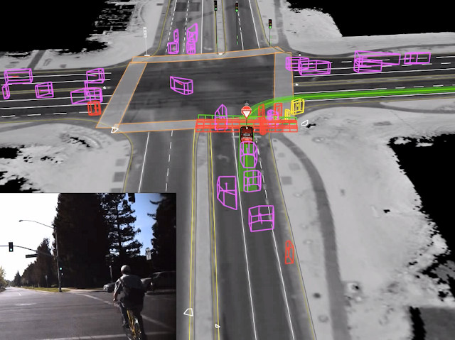Google's self-driving car uses detailed, laser-generated maps of the conditions around it to guide its path.