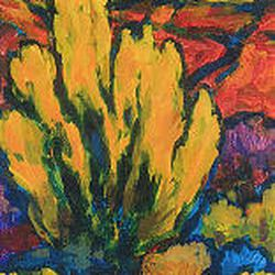 Royden Card painting on display at Caffe Ibis through Sept. 23.