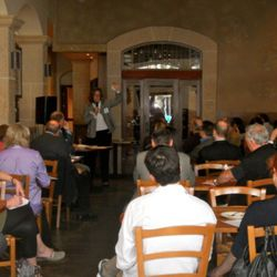 Ariane Daguin of D'Artagnan spoke to a captive audience of chefs and writers about her foie gras practices.