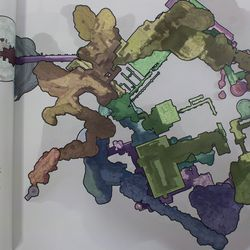 An overhead view of <em>The Last Guardian</em>'s game world. The different colors correspond to the way the game is split into levels in the book's annotated playthrough.