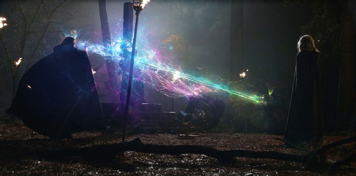 Concept VFX art for WandaVision, with the coven witches attacking Agatha