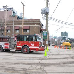 Engine 78 temporarily relocated in the Blue Lot, due to the firehouse entrance being blocked by the utility work