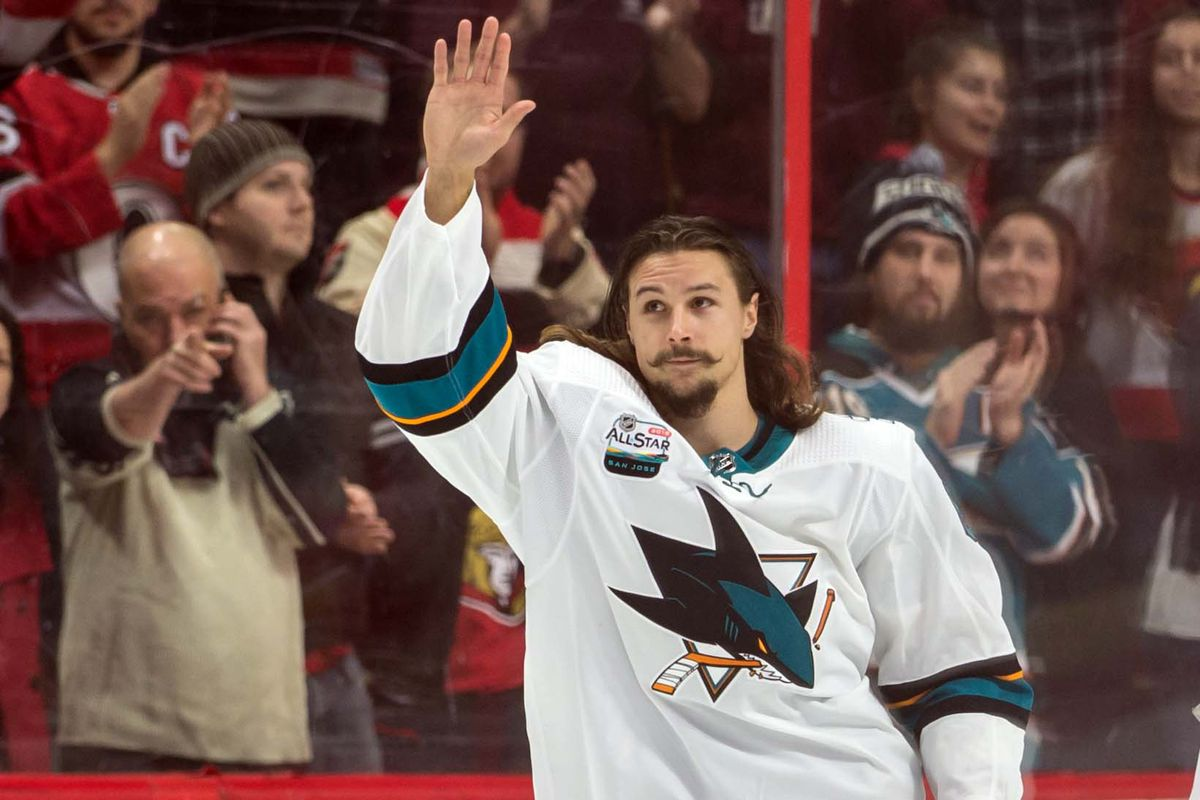 Dec 1, 2018; Ottawa, Ontario, CAN; San Jose Sharks defenseman Erik Karlsson (65) salutes the crowd during a welcoming ceremony held at the Canadian Tire Centre in his first game back in Ottawa against his former Ottawa Senators team.