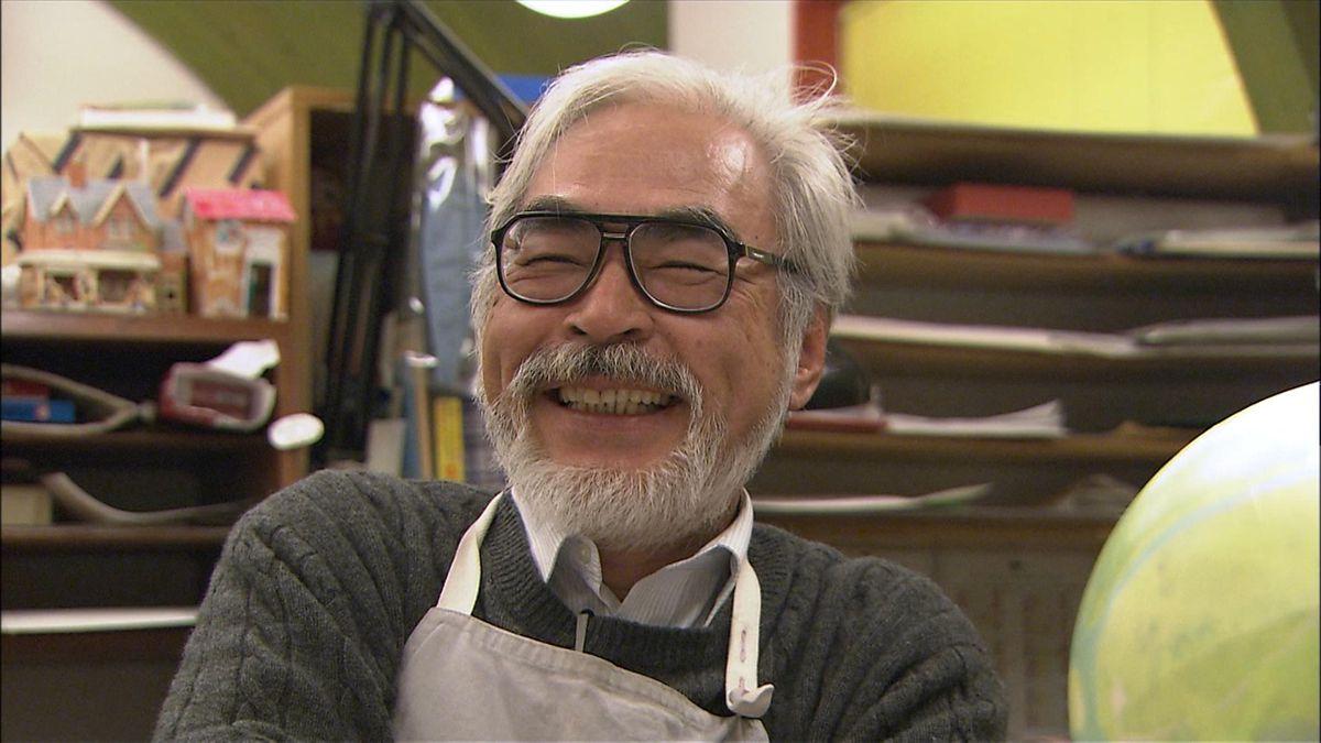 hayao miyazaki grins in the studio