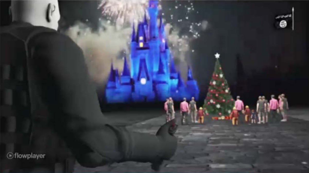 """One piece of propaganda allegedly disseminated by Al Safoo depicted an attack on people standing around a Christmas tree near what appears to be """"Cinderalla Castle"""" at Walt Disney World.   U.S. Attorney's Office."""