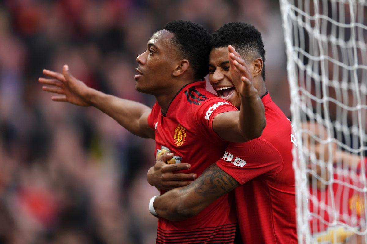 Anthony Martial celebrates with Marcus Rashford - Manchester United - Premier League