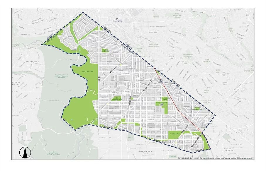 A map of the Rock Creek East 1, showing a bounded area around Brightwood, Shepherd Park, Takoma, Colonial Village, Manor Park, and Lamond Riggs.