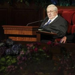 President Boyd K. Packer speaks during the Sunday morning session of general conference on Oct. 7, 2012.