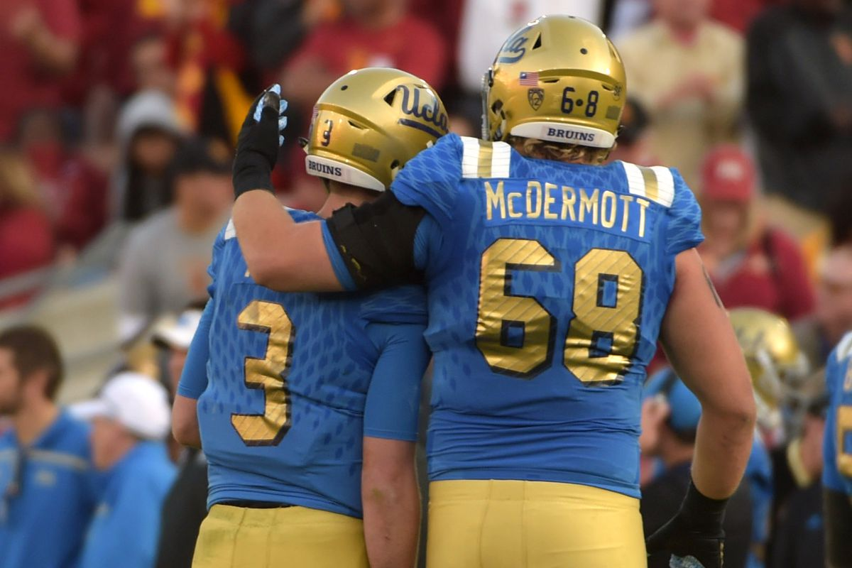 Conor McDermott and Josh Rosen are two of UCLA's Preseason All-American honorees.