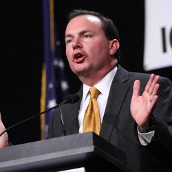 Sen. Mike Lee (R-Utah) speaks during the Iowa Faith and Freedom Coalition's Friends of the Family Banquet in Des Moines, Iowa, Saturday Nov. 9, 2013.