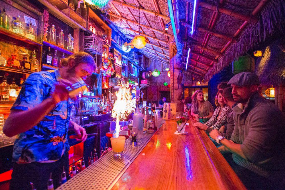 Tiki No's colorful bar with wood roof at North Hollywood