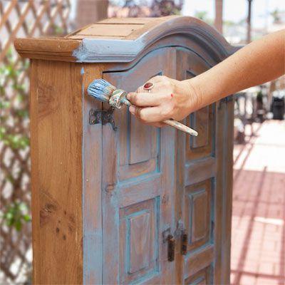 Person Applies Chalk Paint Into Wood Grain