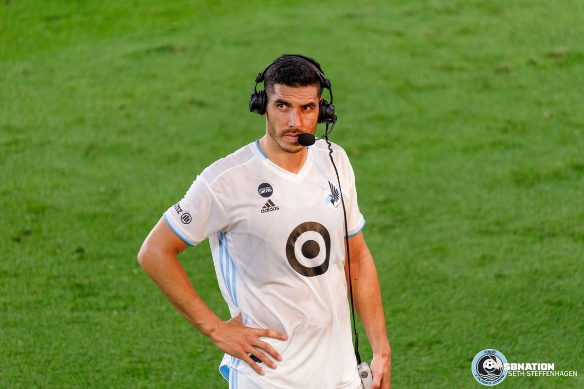 August 21, 2020 - Saint Paul, Minnesota, United States - Minnesota United defender Michael Boxall (15) during an interview after Minnesota United lost 2-1 to Sporting KC at Allianz Field.