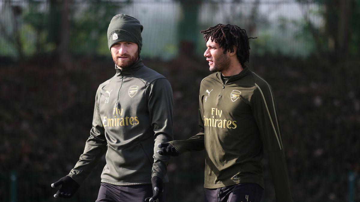 Arsenal's Shkodran Mustafi and Mohamed Elneny during a training session.