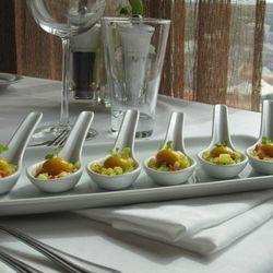 Molecular Gastronome consisting of Spherical Mango, Vodka & Jalapeno Ravioli