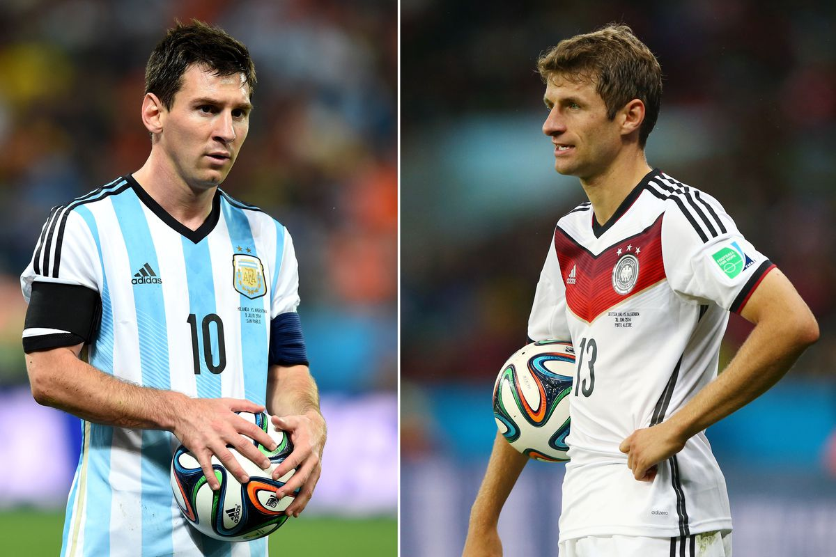 Argentina's Lionel Messi and Germany's Thomas Mueller