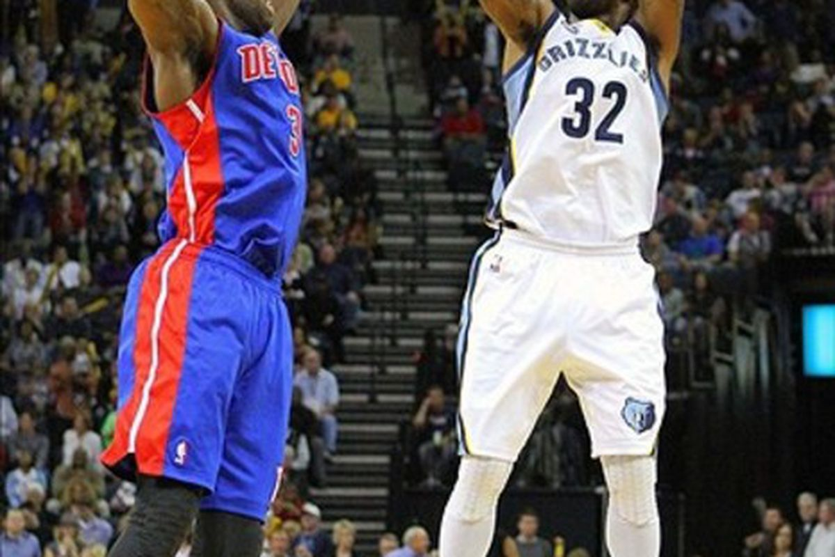 Mar 3, 2012; Memphis, TN, USA;  Memphis Grizzlies shooting guard O.J. Mayo (32) shoots the ball against Detroit Pistons point guard Rodney Stuckey (3) during the fourth quarter at the FedEx Forum.  Mandatory Credit: Spruce Derden-US PRESSWIRE