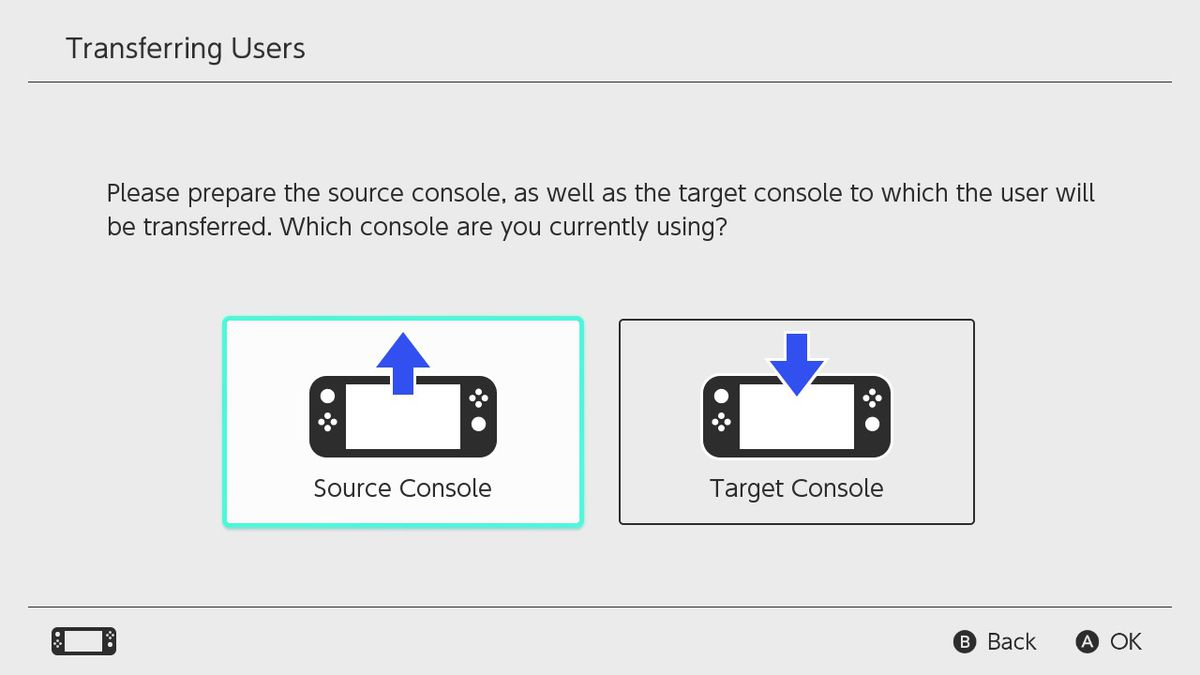 Nintendo Switch's Transferring Users menu