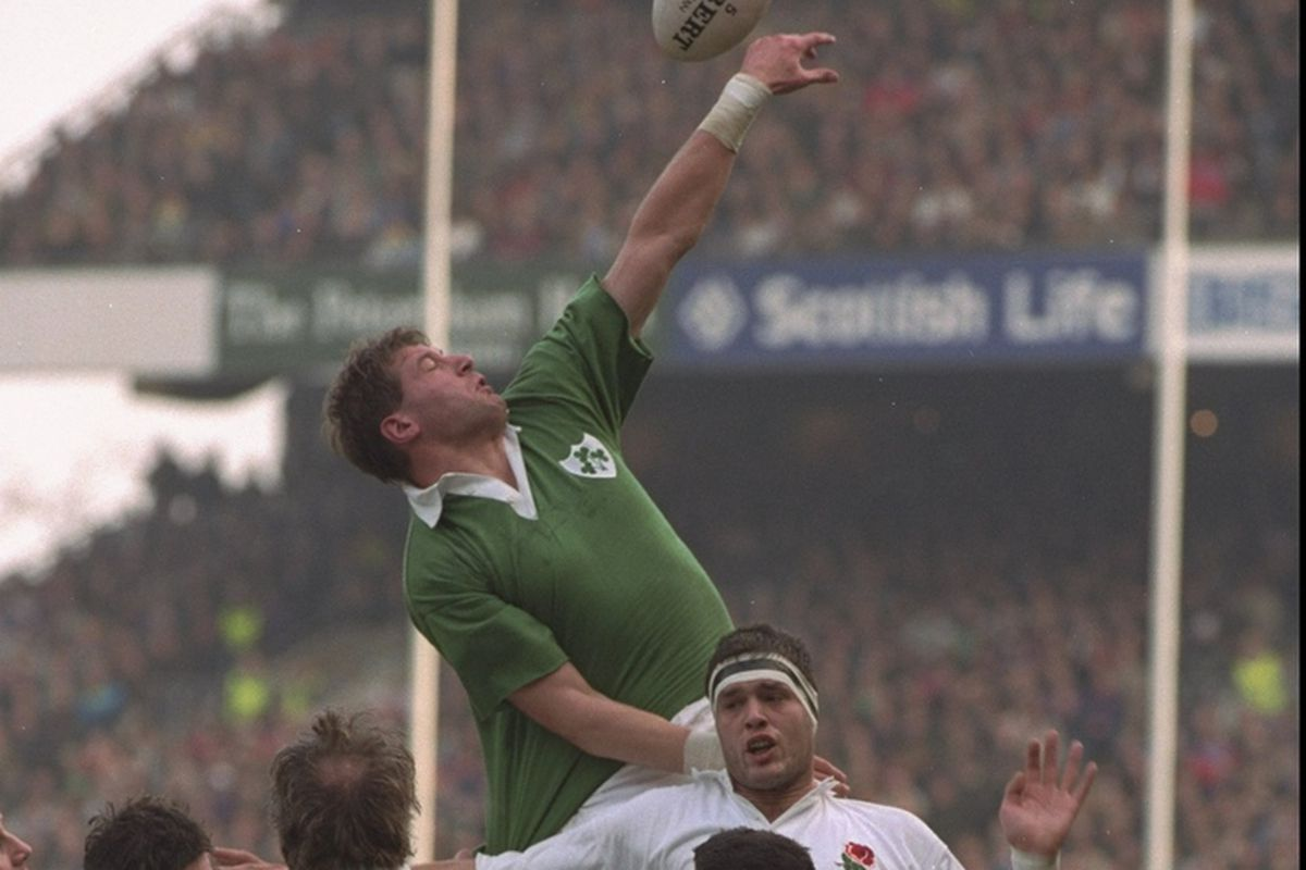 Neil Francis of Ireland stretches and jumps highest for the ball in the England v Ireland match during the 1992 Five Nations Championships at Twickenham, London. England won the match 38-9.