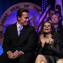 """FILE --In this Jan. 5, 2007 file photo, Maria Shriver, wife of  then Gov. Arnold Schwarzenegger laughs during his  second inauguration in Sacramento, Calif.    In an interview with """"60 minutes"""" that is scheduled to air Sunday, Schwarzenegger says the affair he had with longtime housekeeper Mildred Baena, that led to a son, was """"the stupidest thing"""", he ever did to  Shriver who filed for divorce last July."""