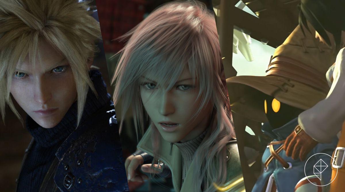 ثلاث شخصيات من Final Fantasy: Cloud و Lightning و Vivi