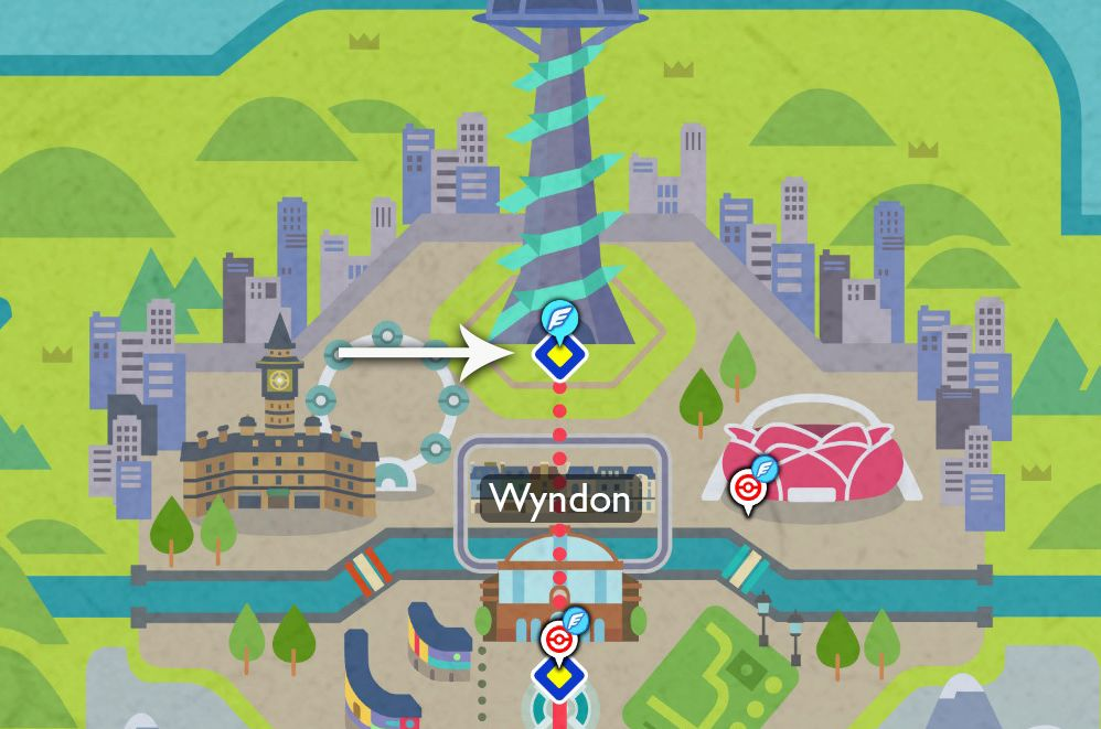 A Galar region map points out where to find and buy mints in Pokémon Sword and Shield