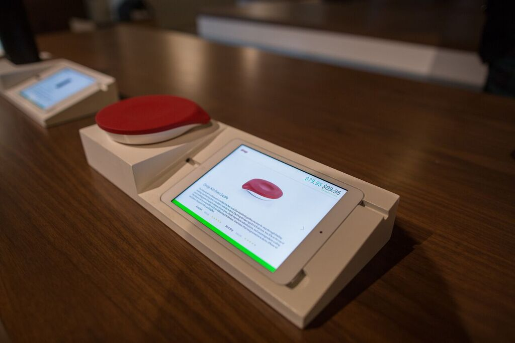 A smart kitchen scale, from Drop, on display at b8ta